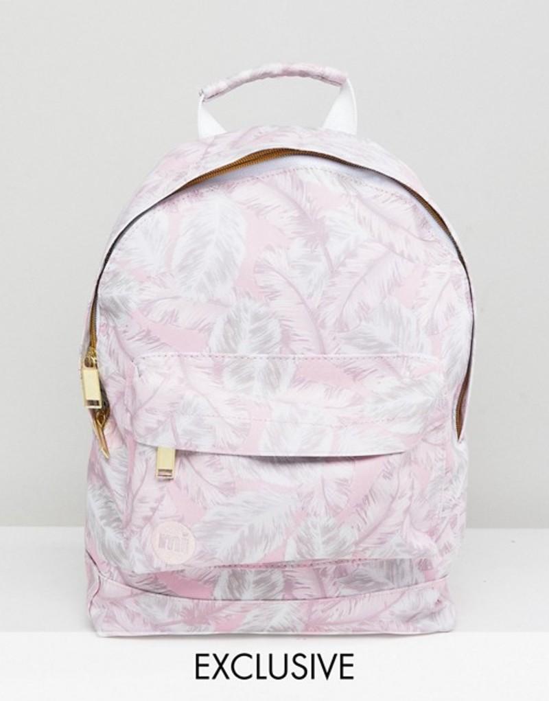 マイ・パック レディース バックパック・リュックサック バッグ Mi-Pac Exclusive Mini Tumbled Backpack in Feather Print Pink feathers