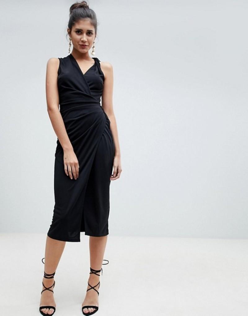 エイソス レディース ワンピース トップス ASOS DESIGN twist detail midi dress Black