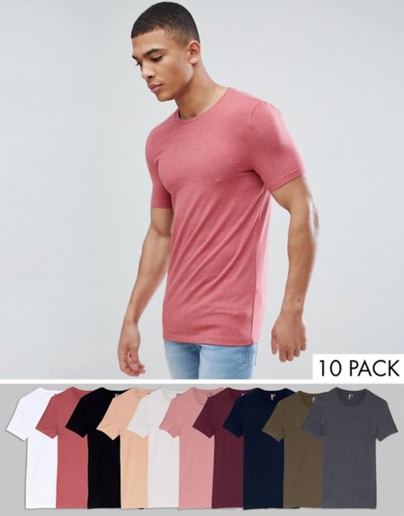 エイソス メンズ Tシャツ トップス ASOS DESIGN muscle fit t-shirt with crew neck and stretch 10 pack SAVE W/b/n/b/r/m/c/c/w/r