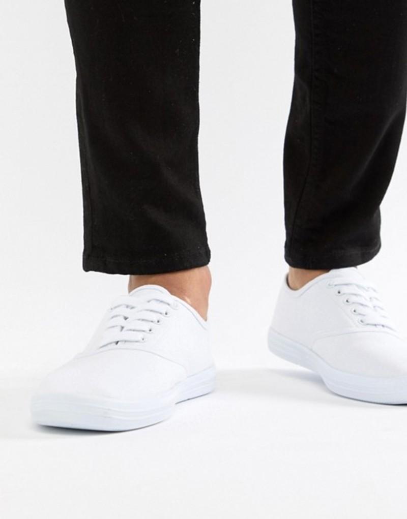 エイソス メンズ スニーカー シューズ ASOS DESIGN oxford plimsolls in white canvas White