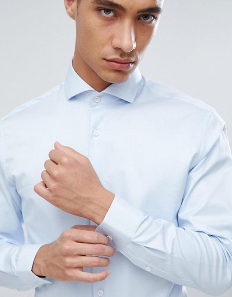 セレクテッドオム メンズ シャツ トップス Selected Homme Slim Fit Smart Shirt With Spread Collar Light blue