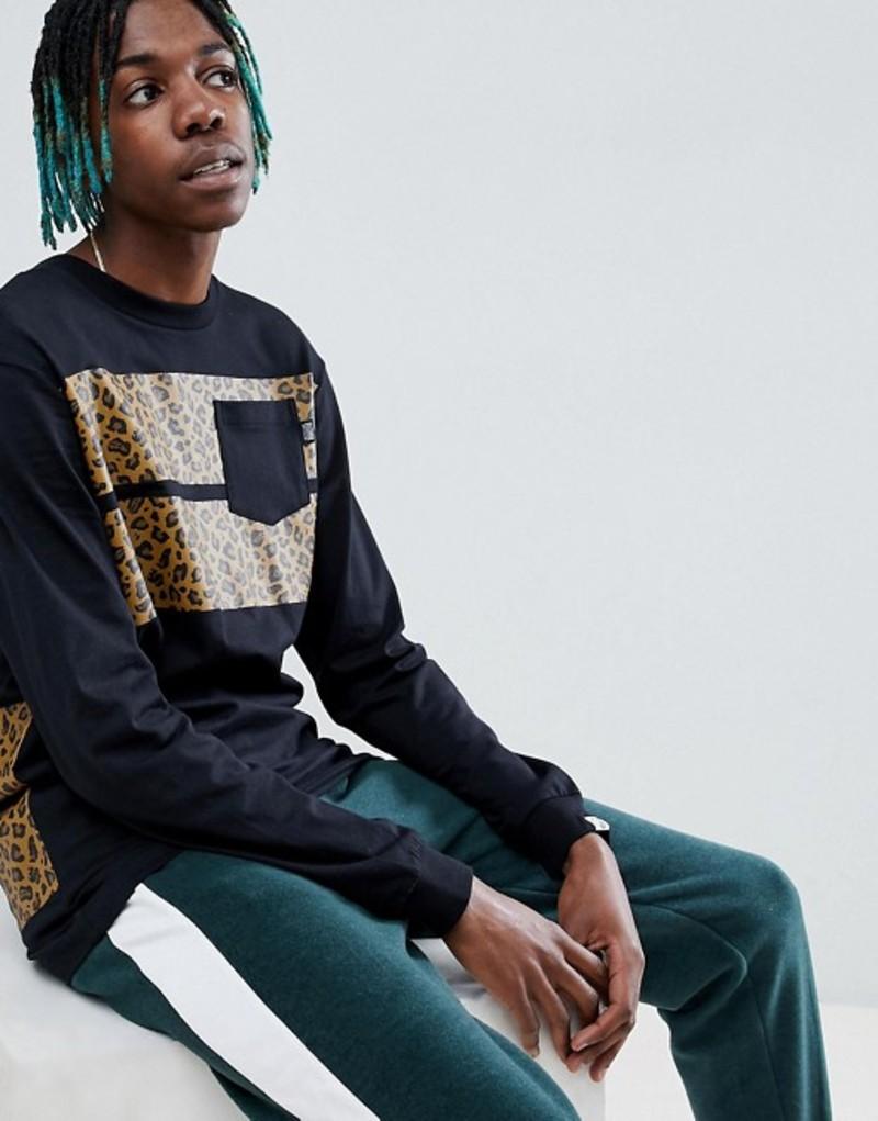 ビリオネアボーイズクラブ メンズ Tシャツ トップス Billionaire Boys Club Leopard Stripe Long Sleeve T-Shirt In Black Black