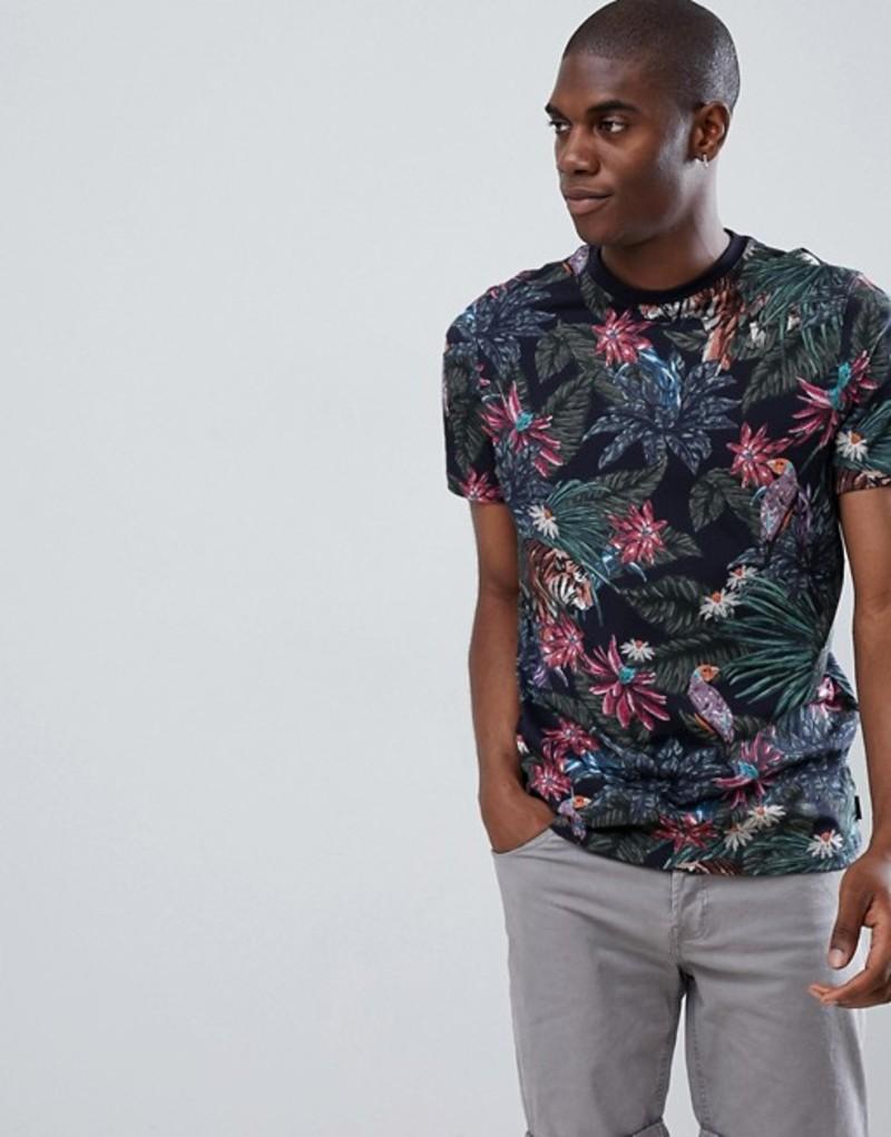 テッドベーカー メンズ Tシャツ トップス Ted Baker Crew Neck T-Shirt in Tiger Print Navy