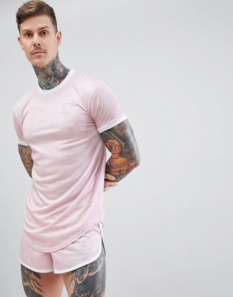 シックシルク メンズ Tシャツ トップス SikSilk Shadow Silk T-Shirt With Curved Hem In Pink Pink