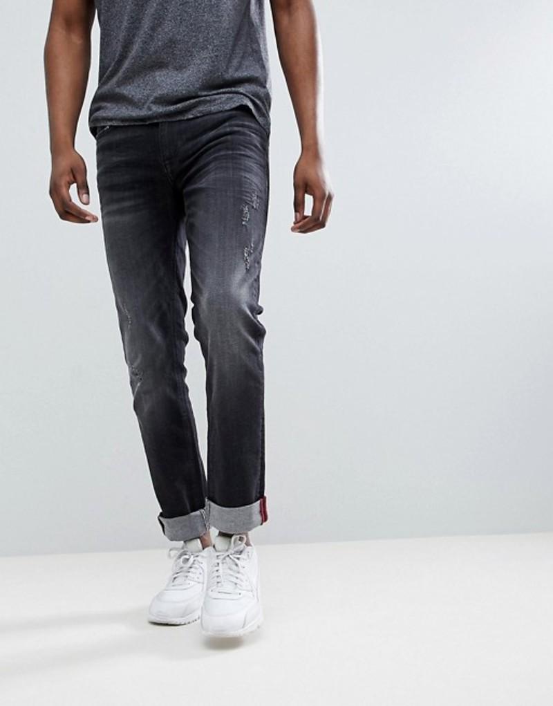 ブレンド メンズ デニムパンツ ボトムス Blend Jet Distressed Slim Fit Jeans in Washed Black Washed black (14)