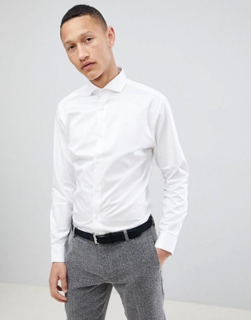 セレクテッドオム メンズ シャツ トップス Selected Homme Slim Fit Smart Shirt With Spread Collar Bright white