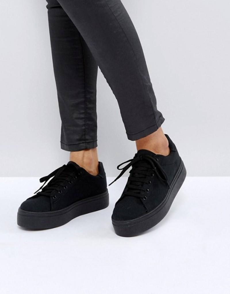 エイソス レディース スニーカー シューズ ASOS DAY LIGHT Lace Up Sneakers Black
