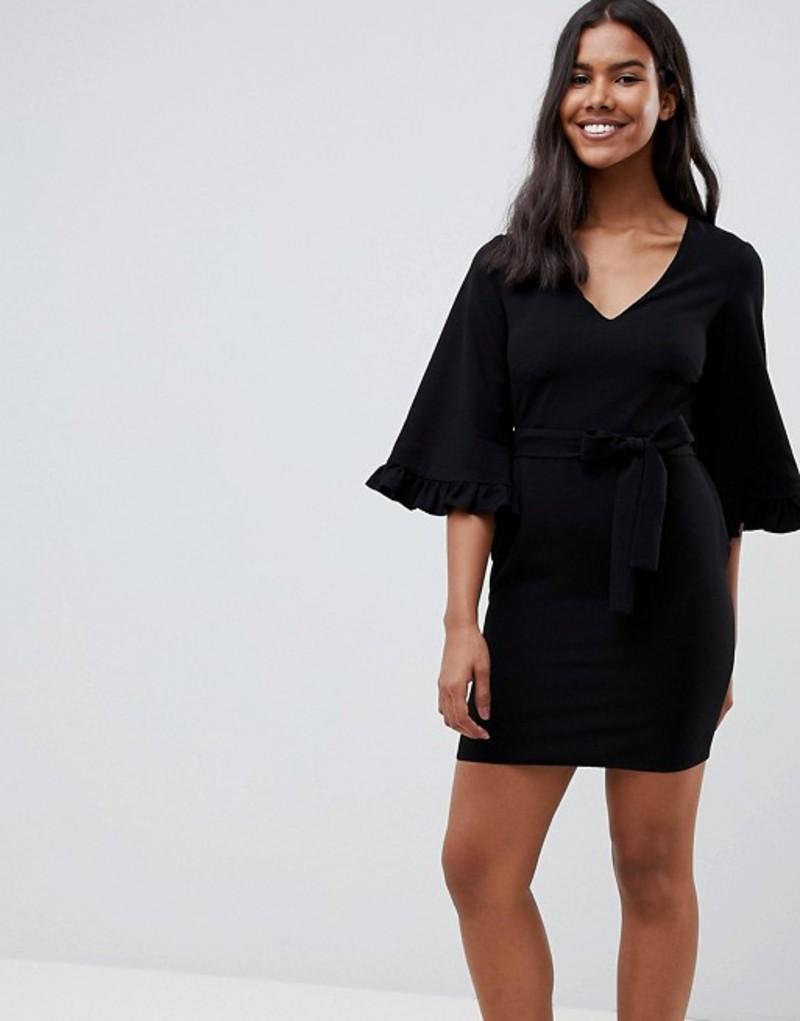 エイソス レディース ワンピース トップス ASOS DESIGN kimono frill sleeve mini dress Black