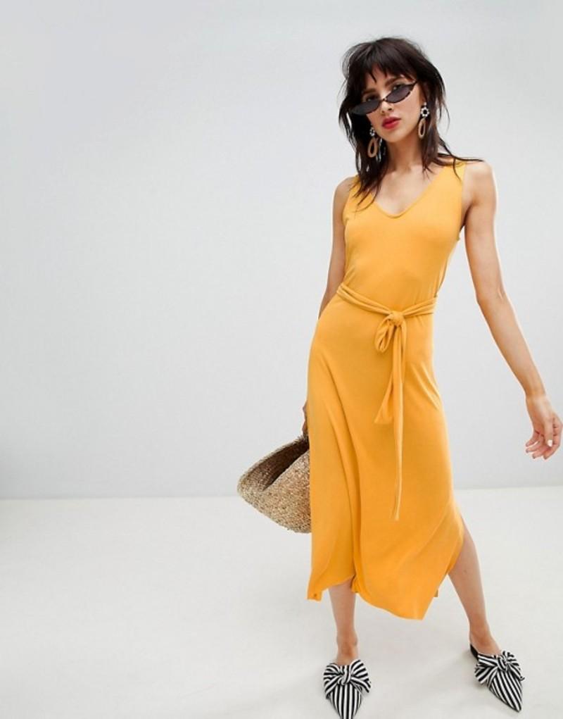 マンゴ レディース ワンピース トップス Mango tie back midi dress in yellow Yellow