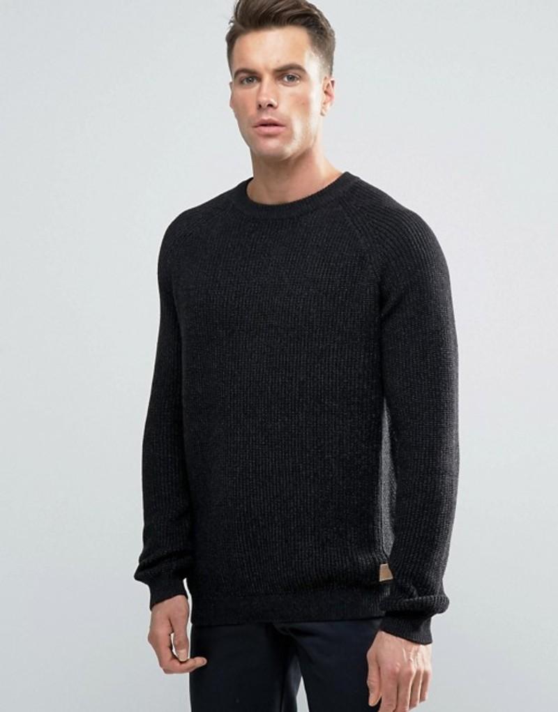 スリードベア メンズ ニット・セーター アウター Threadbare Crew Neck Cable Knit Sweater Black