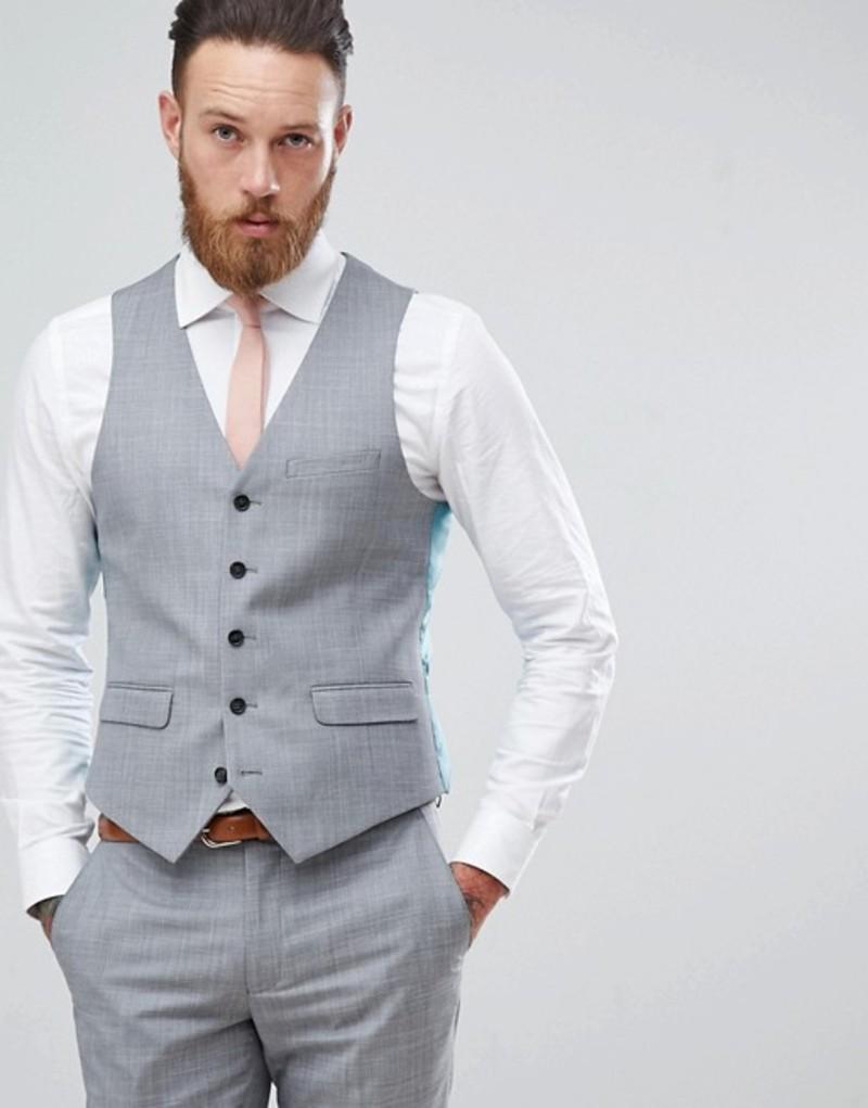 ハリー ブラウン メンズ タンクトップ トップス Harry Brown Wedding Tonal Skinny Fit Vest Grey