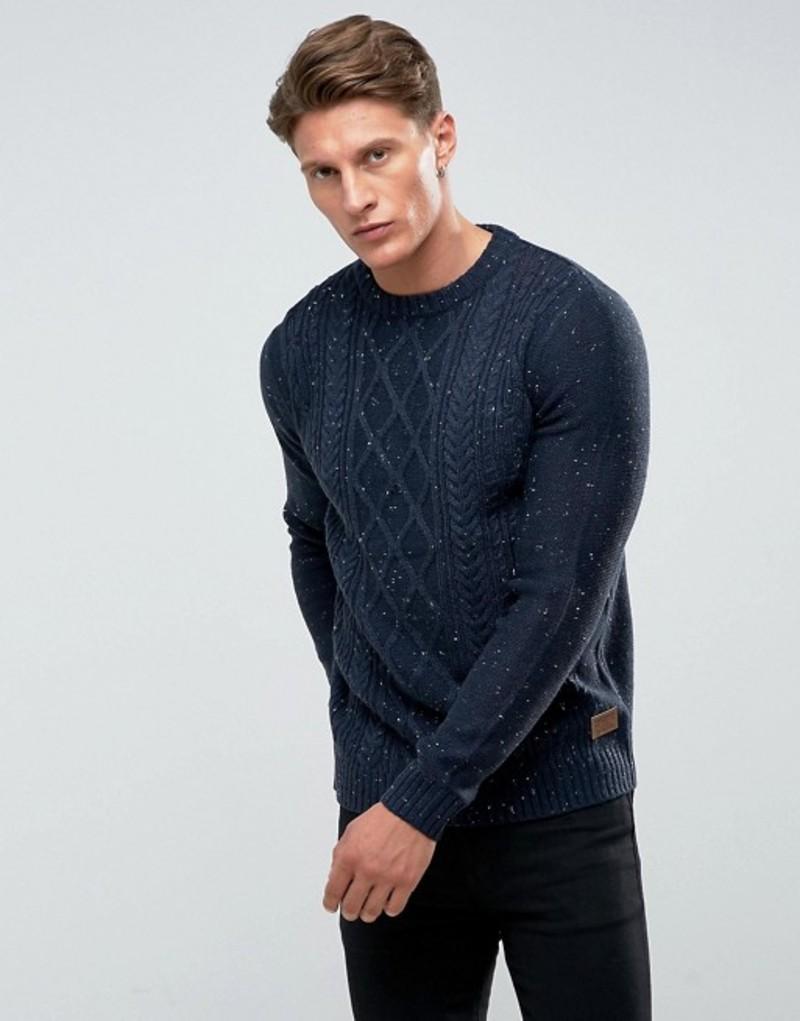 スリードベア メンズ ニット・セーター アウター Threadbare Chunky Nep Cable Knit Sweater Navy
