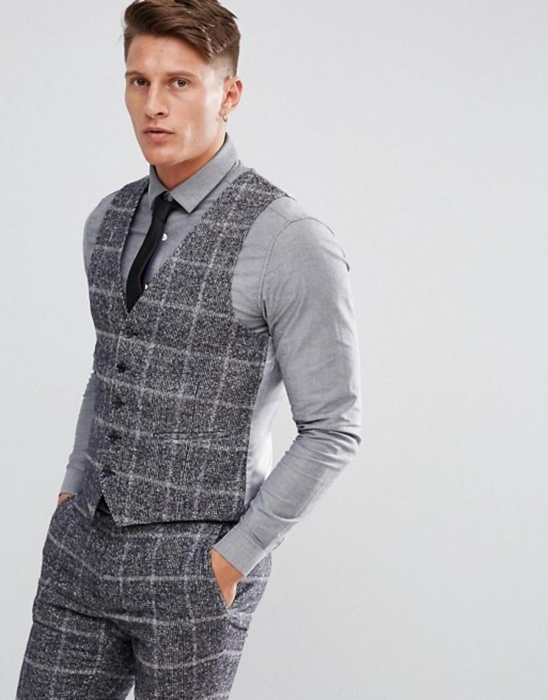 モス ブラザーズ メンズ タンクトップ トップス Moss London Skinny Vest In Fleck Check Italian speck check