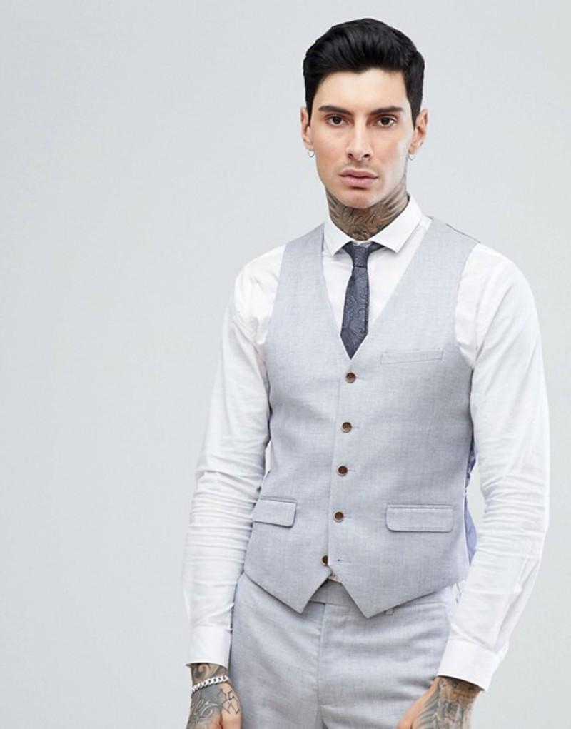 ハリー ブラウン メンズ タンクトップ トップス Harry Brown Stretch Linen Wedding Pale Blue Slim Fit Suit vest Blue