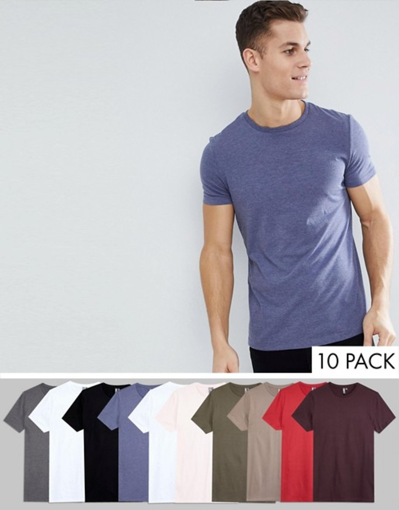 エイソス メンズ Tシャツ トップス ASOS DESIGN t-shirt with crew neck 10 pack SAVE M/c/f/b/w/w/d/r/c/s