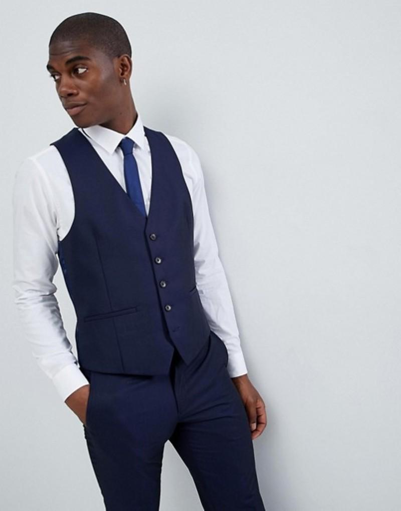 モス ブラザーズ メンズ タンクトップ トップス Moss London Skinny Vest In Navy Ink