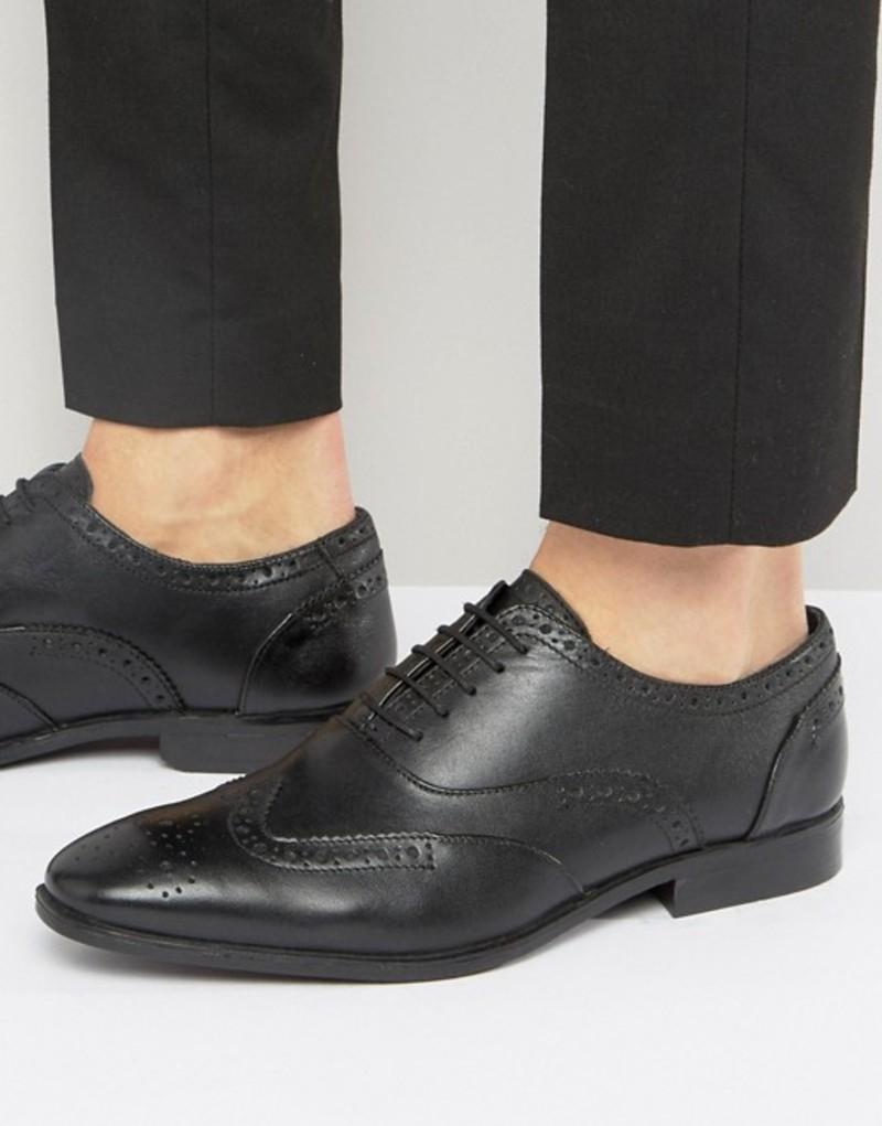 シルバー ストリート メンズ オックスフォード シューズ Silver Street Oxford Brogues In Black Leather Black