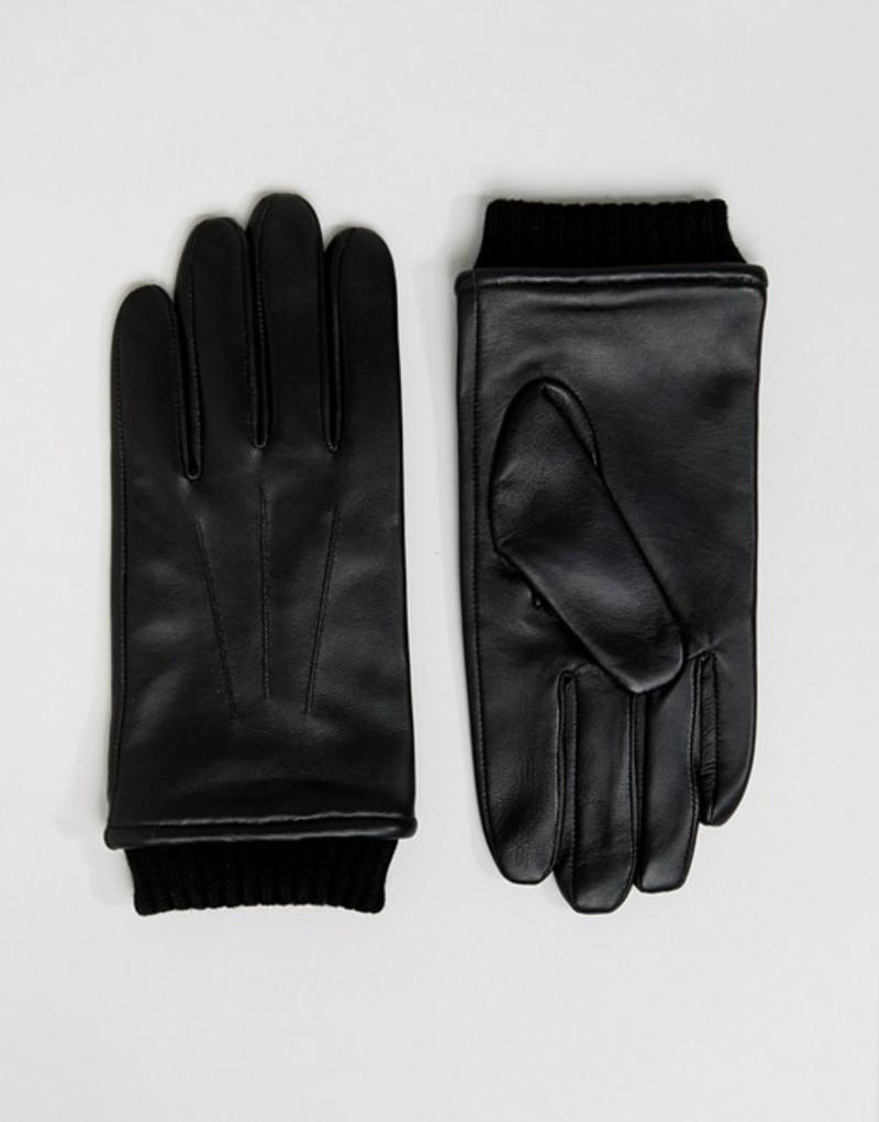 バーニーズオリジナルス メンズ 手袋 アクセサリー Barneys Leather Gloves With Cuff Detail Black Black