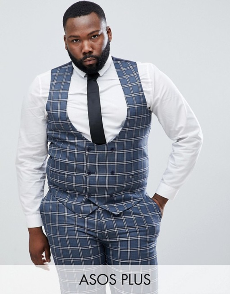 エイソス メンズ タンクトップ トップス ASOS DESIGN Plus Wedding Skinny Suit Vest In Blue And White Check Blue