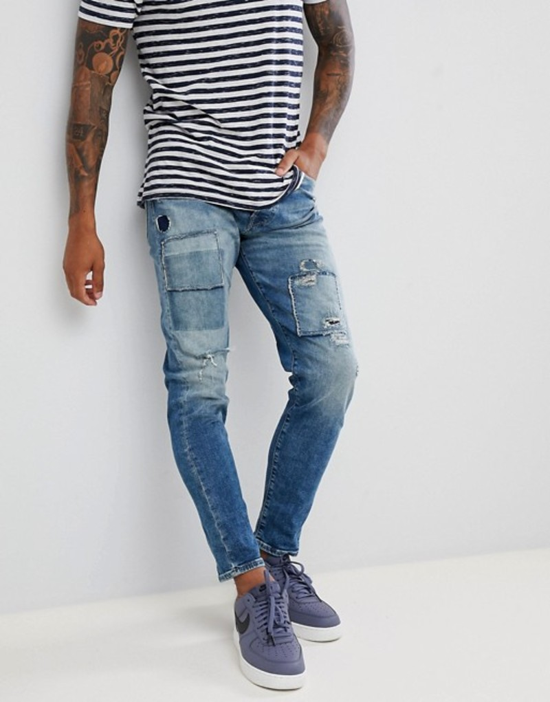 ジャック アンド ジョーンズ メンズ デニムパンツ ボトムス Jack & Jones Jeans In Tapered Fit With Patch Details Blue denim