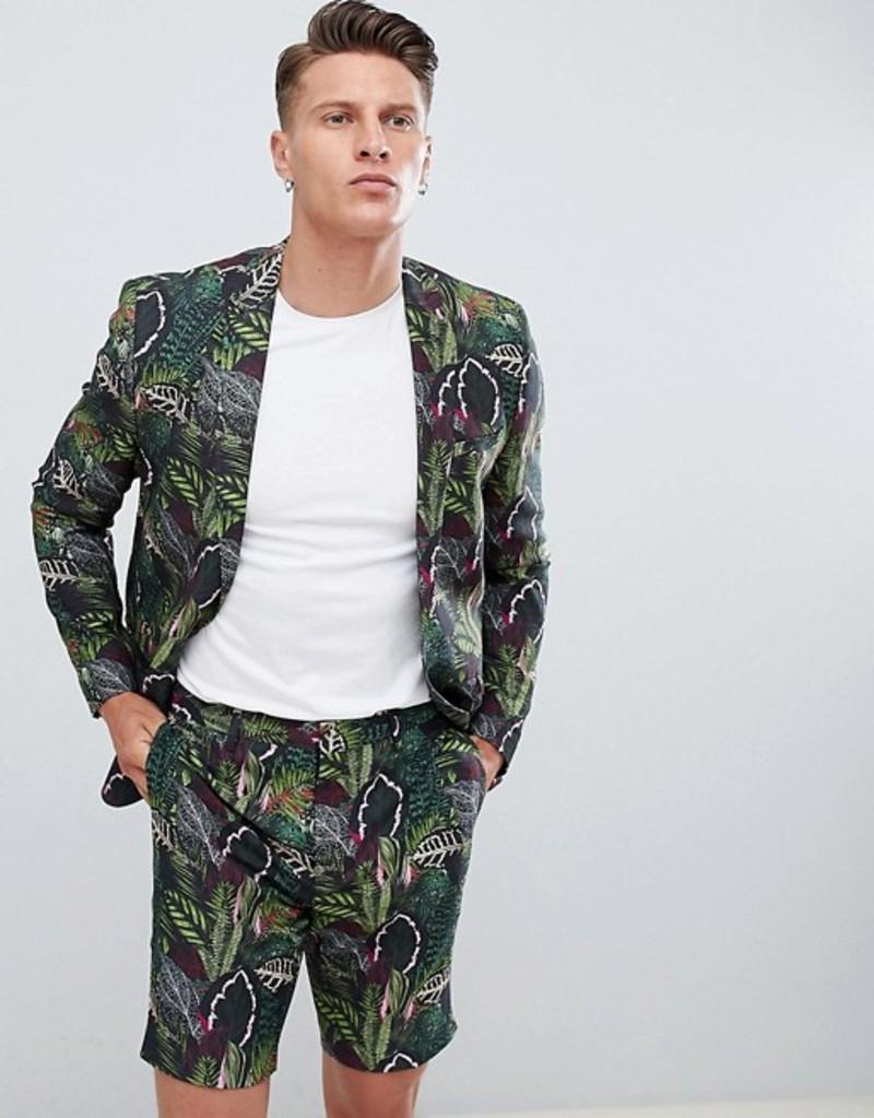 エイソス メンズ ジャケット・ブルゾン アウター ASOS Skinny Suit Jacket In Green Botanical Print In Linen Look Green