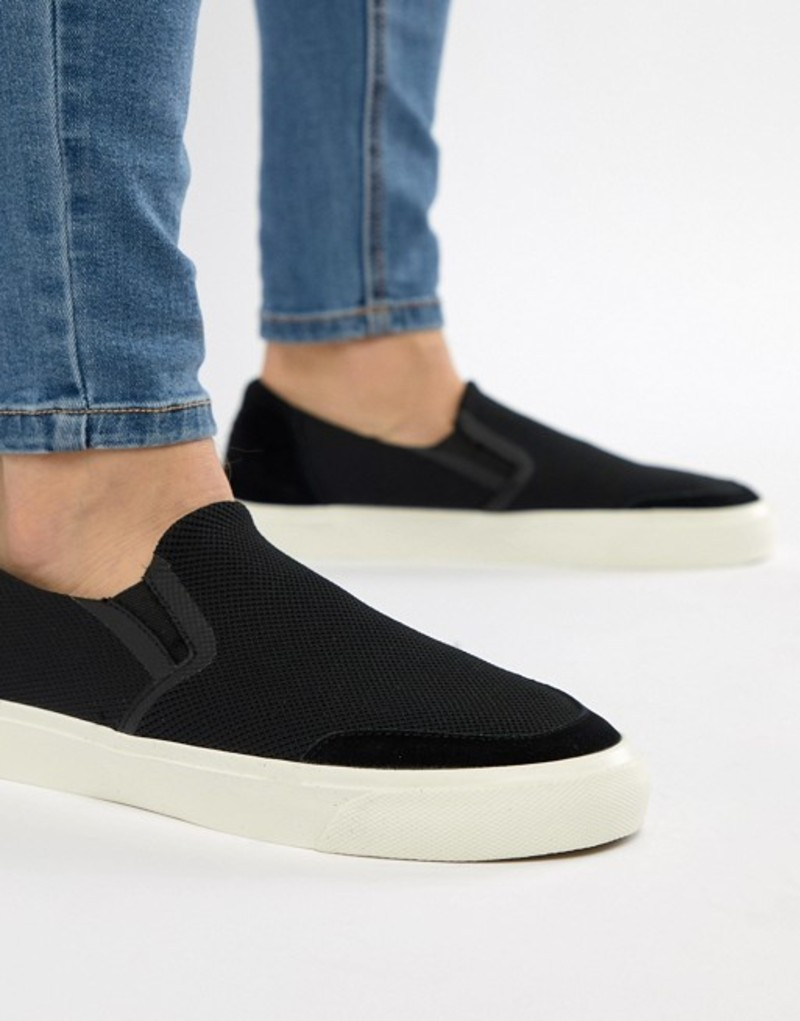ストラディバリウス メンズ スニーカー シューズ Stradivarius Knitted Slip On Sneaker In Black Black