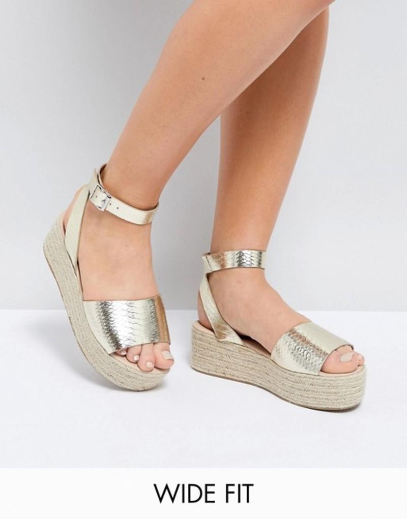 エイソス レディース サンダル シューズ ASOS THEAR Wide Fit Espadrille Flatform Sandals Champagne gold snake