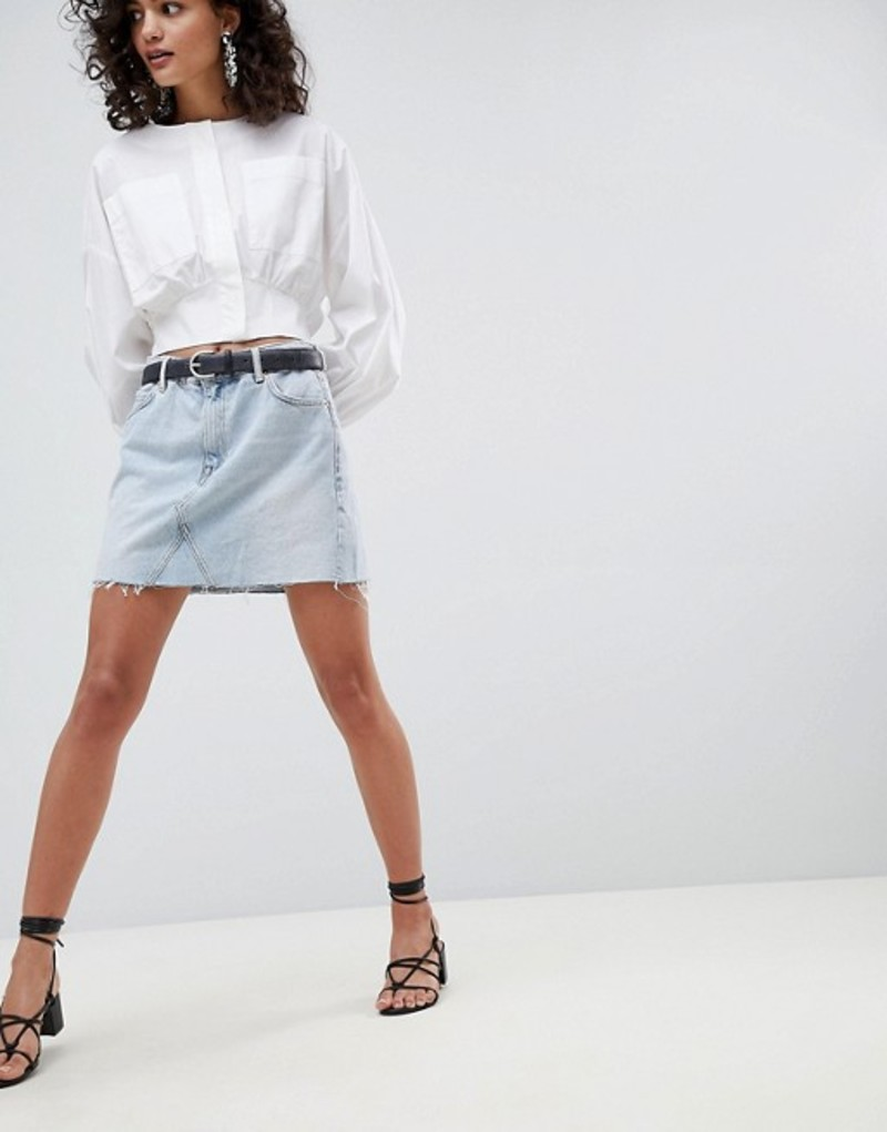 マンゴ レディース スカート ボトムス Mango organic cotton denim mini skirt in washed blue Blue