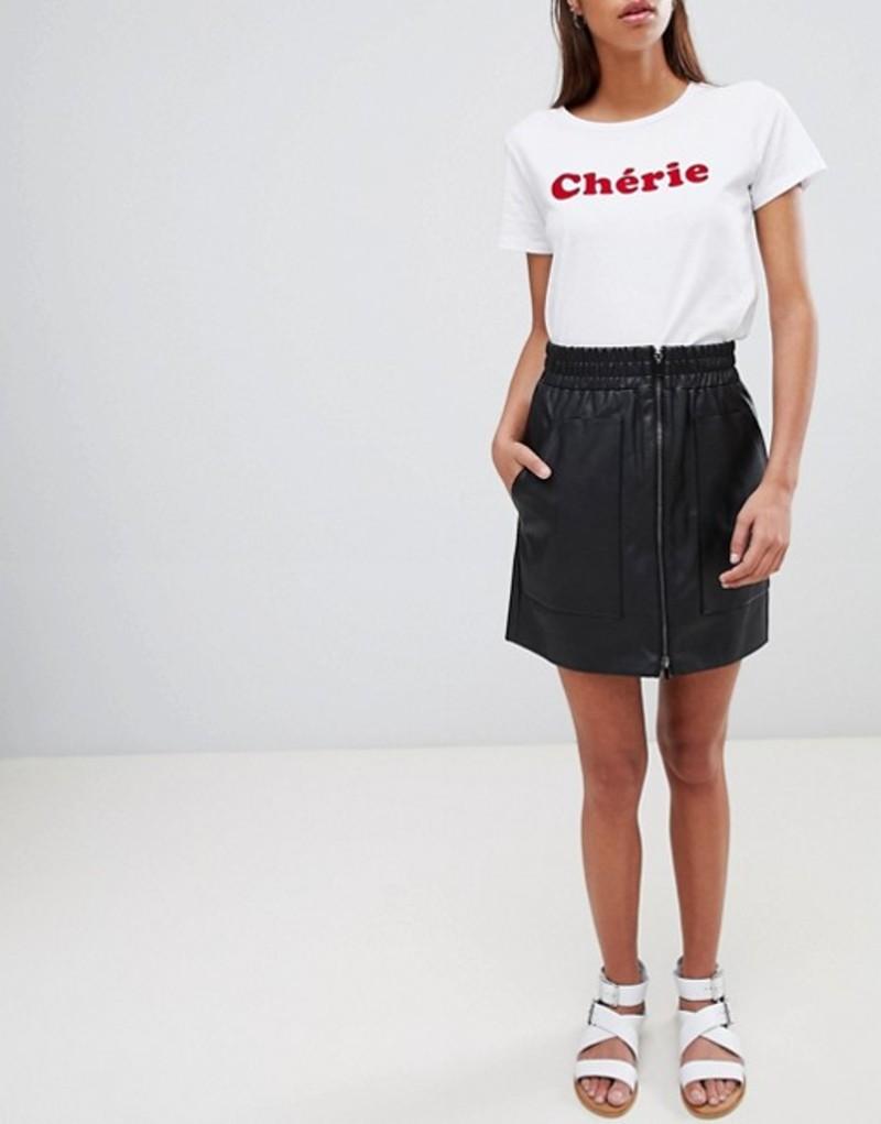 フレンチコネクション レディース スカート ボトムス French Connection Zip Front Mini Skirt in Faux Leather Black