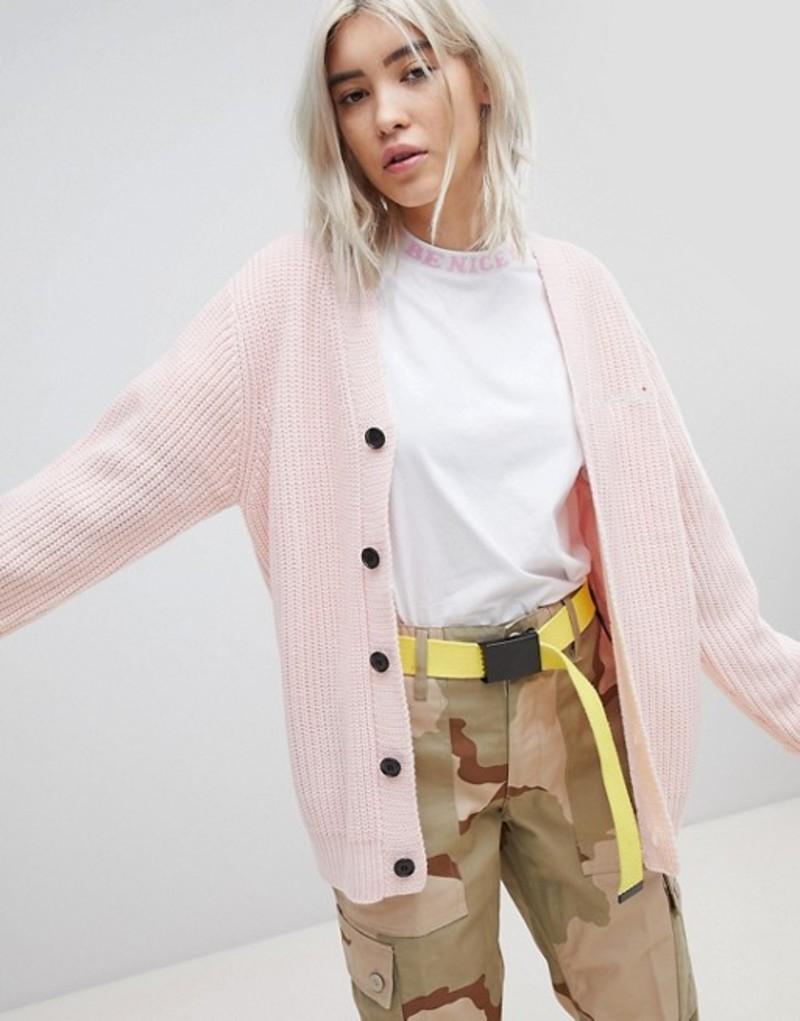 リップンディップ レディース カーディガン アウター RIPNDIP Oversized Button Through Cardigan With Slogan Embroidered Pink