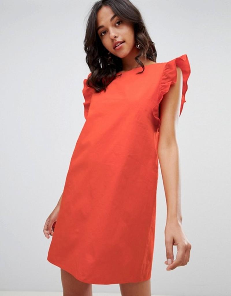 ヴィラ レディース ワンピース トップス Vila Ruffle Sleeve Shift Dress Orange