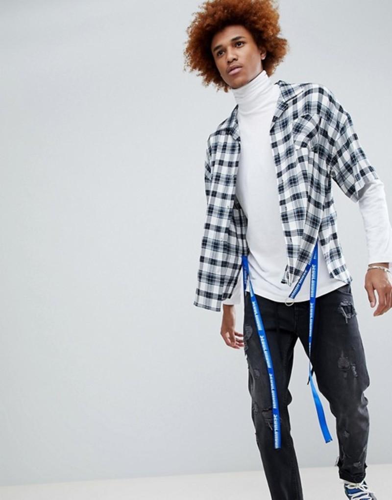 ディー アンチドート メンズ シャツ トップス D-Antidote Oversized Check Shirt With Taping White