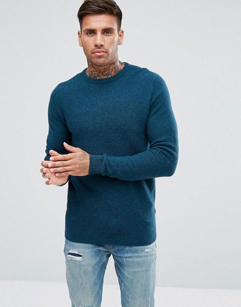 トーキョーランドリー メンズ ニット・セーター アウター Tokyo Laundry Lambs Wool Ripple Knit Sweater Blue