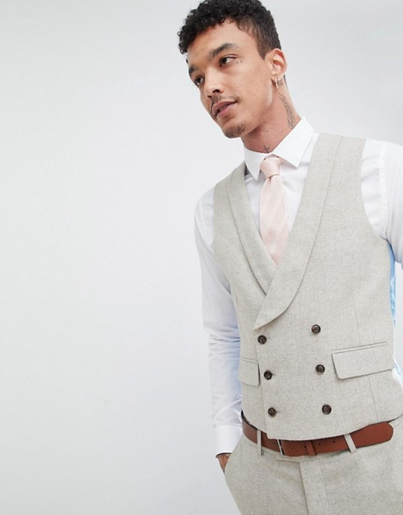 ハリー ブラウン メンズ タンクトップ トップス Harry Brown Wedding Donegal Skinny Fit Curved Vest Oatmeal