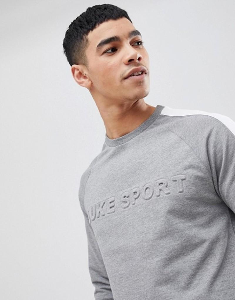 ルーク メンズ パーカー・スウェット アウター Luke Sport Textual Debossed Logo Sweat In Gray Marl SUIT 1 Grey marl