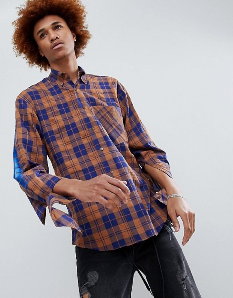 ディー アンチドート メンズ シャツ トップス D-Antidote Oversized Check Shirt With Sleeve Print Brown