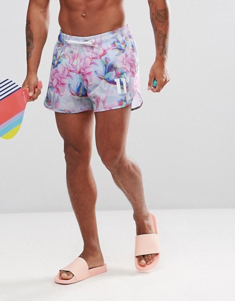 イレブンディグリー メンズ ハーフパンツ・ショーツ 水着 11 Degrees swim shorts in floral print White