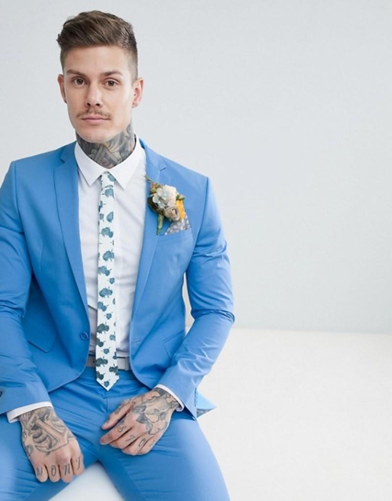 エイソス メンズ ジャケット・ブルゾン アウター ASOS DESIGN Wedding Skinny Suit Jacket In Stretch Cotton In Sky Blue Blue