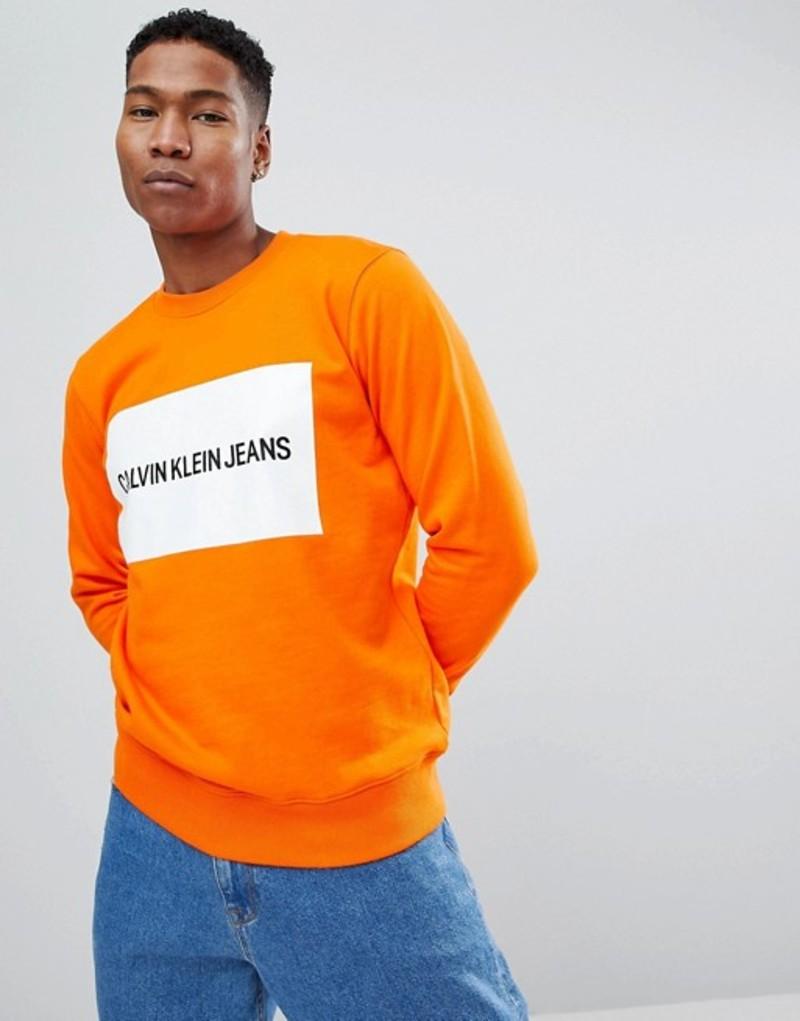 カルバンクライン メンズ パーカー・スウェット アウター Calvin Klein Jeans Sweatshirt Box Logo Orange tiger