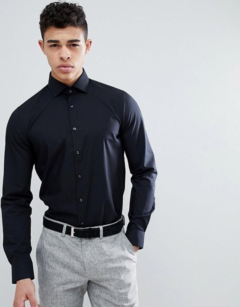 マイケルコース メンズ シャツ トップス Michael Kors slim fit smart shirt in black with stretch Black
