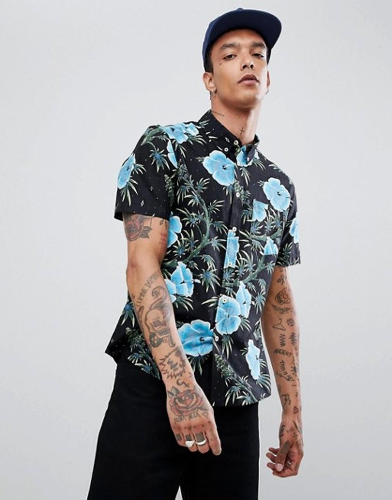 ハフ メンズ シャツ トップス HUF Herrer floral shirt in black Black