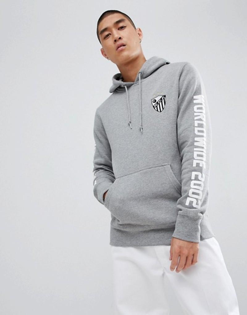 ハフ メンズ パーカー・スウェット アウター HUF defender hoodie with sleeve print in gray Grey