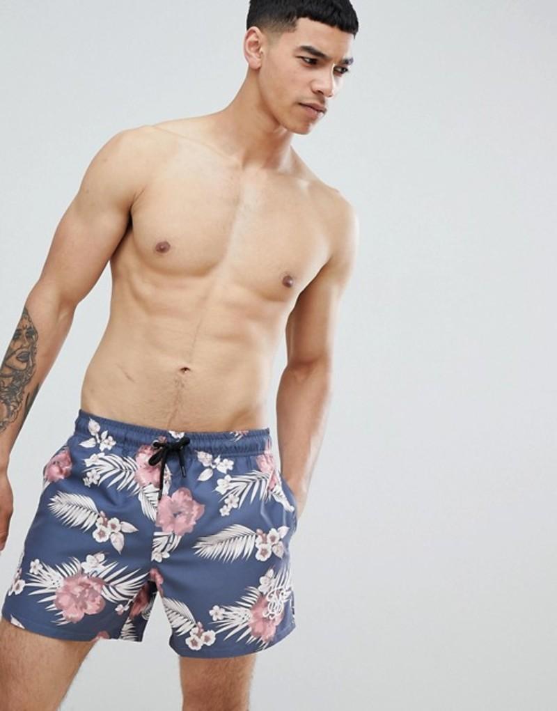 シックシルク メンズ ハーフパンツ・ショーツ 水着 SikSilk hazey daze swim shorts in navy with palm print Navy