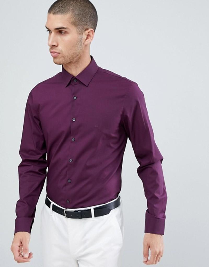 カルバンクライン メンズ シャツ トップス Calvin Klein Slim Fit Stretch Shirt Plum Plum