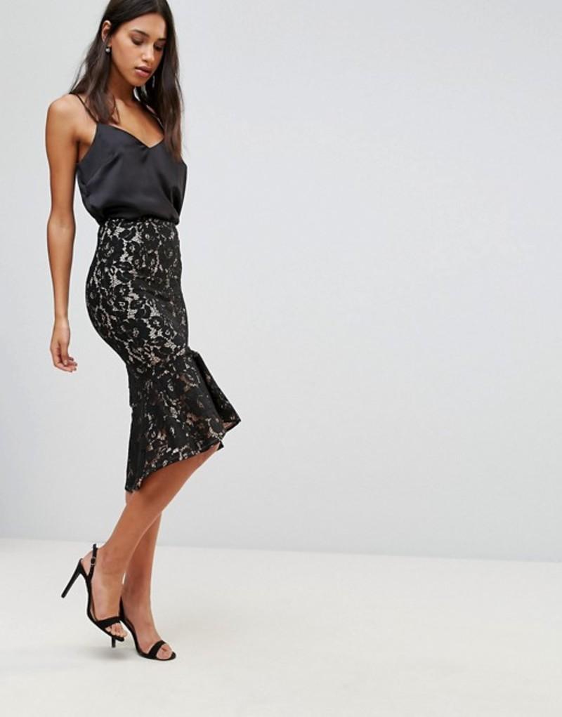 ミンクピンク レディース スカート ボトムス Minkpink Marsleille Lace Midi Skirt With Flare Hem Black