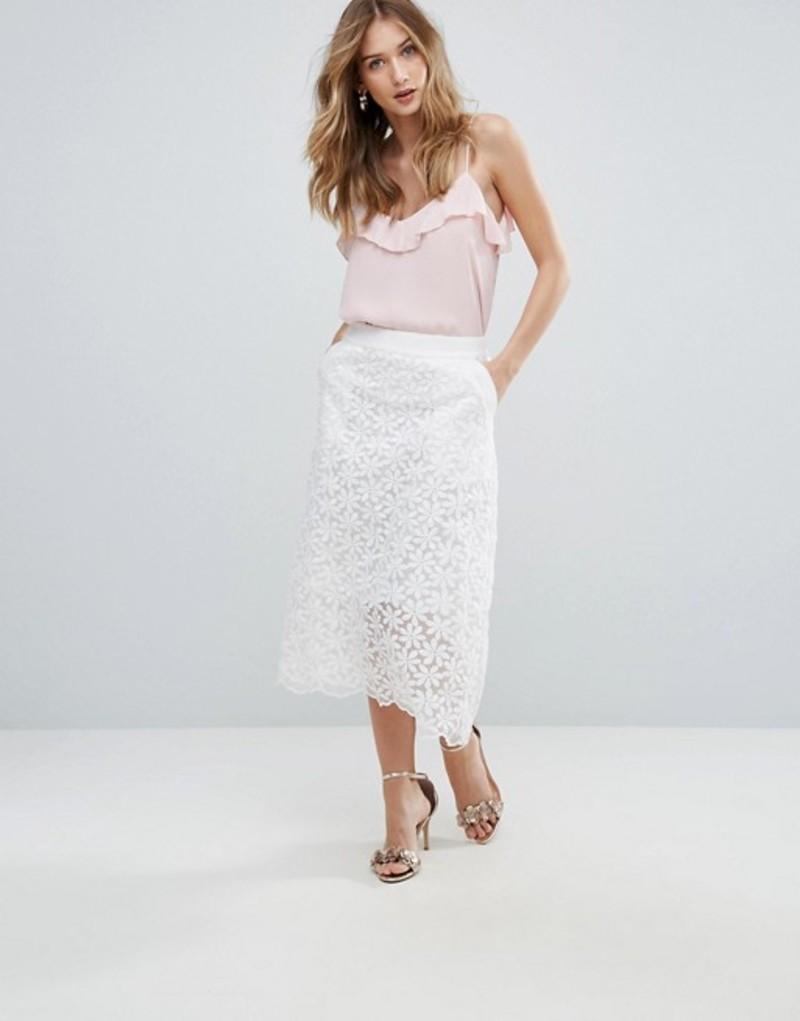 トラフィックピーポー レディース スカート ボトムス Traffic People Lace Midi Skirt White