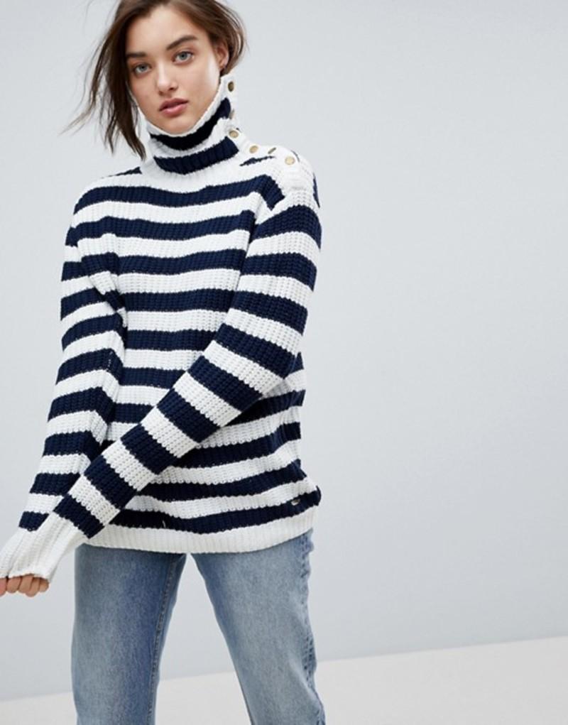 ペペジーンズ レディース ニット・セーター アウター Pepe Jeans Stripe Funnel Neck Wool Blend Sweater Ecru