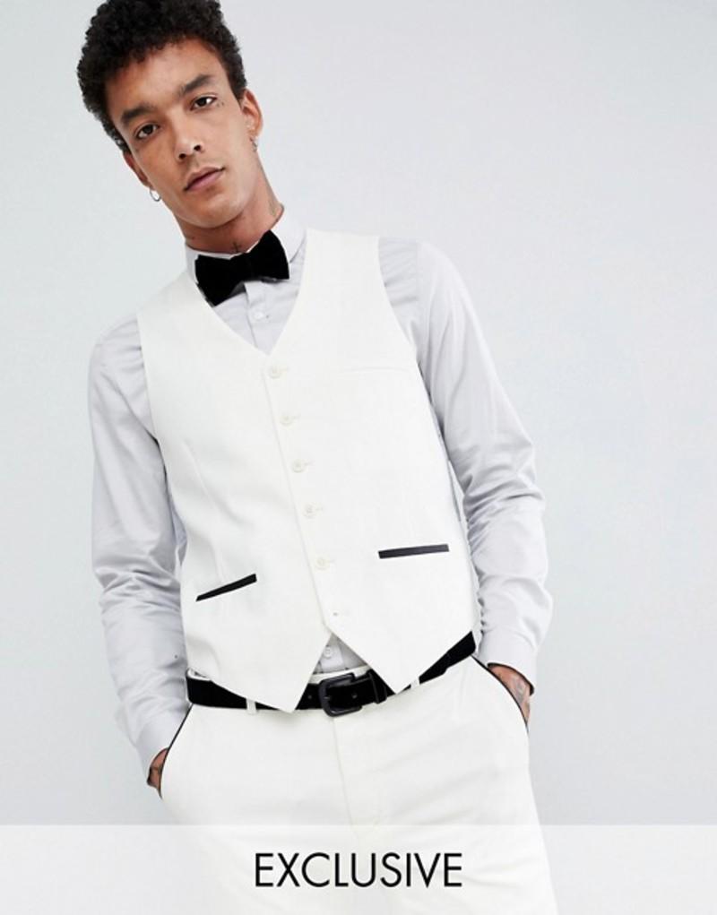ハートアンドダガー メンズ タンクトップ トップス Heart & Dagger tuxedo skinny vest in satin White