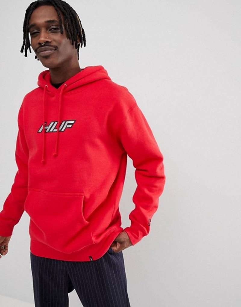 ハフ メンズ パーカー・スウェット アウター HUF Weld hoodie with reflective logo in red Red