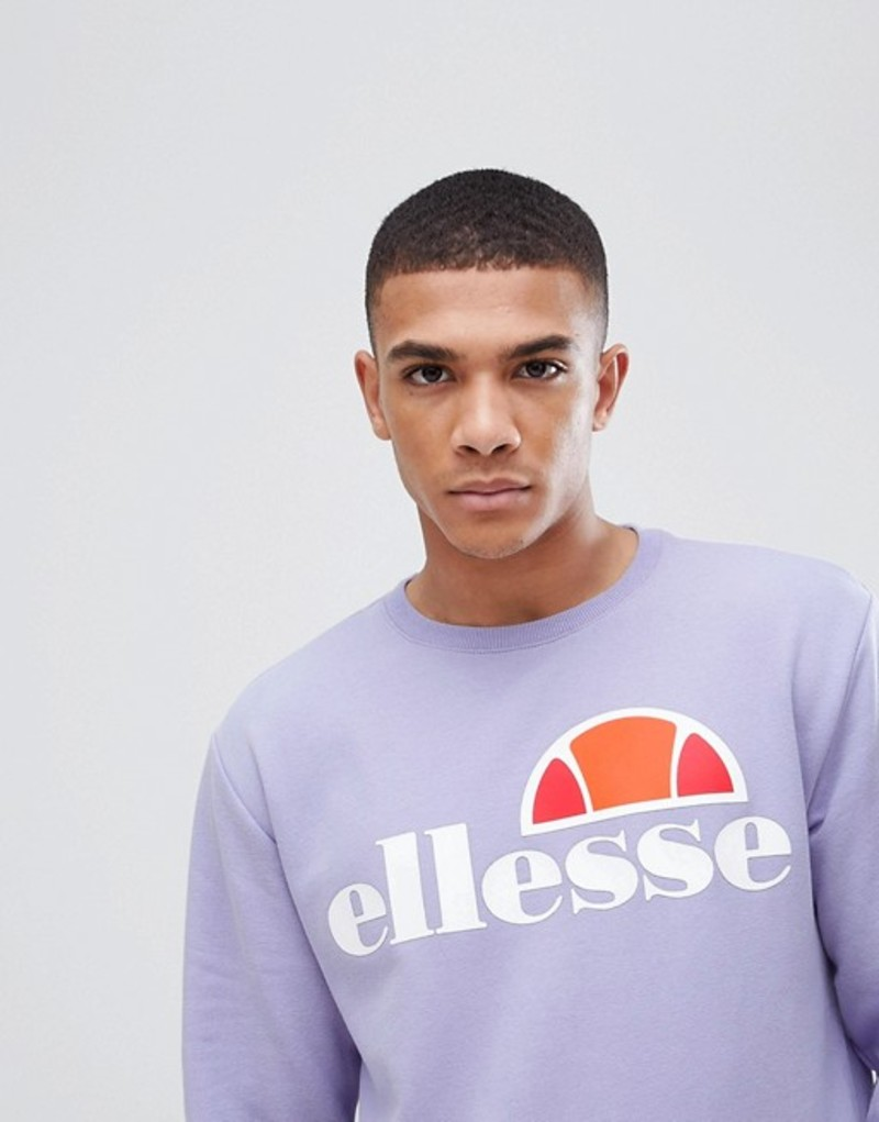 エレッセ メンズ パーカー・スウェット アウター ellesse sweatshirt with large logo in lilac Lilac